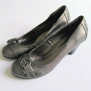 Madeline Stuart Silver Gray Chunky Heels